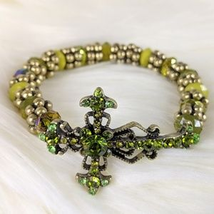 Green Rhinestone Beaded Cross Stretch Bracelet